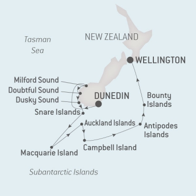 Sub Antarctic route map